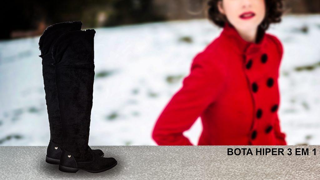 Esse modelo de bota, que ultrapassa o joelho, é a opção perfeita.